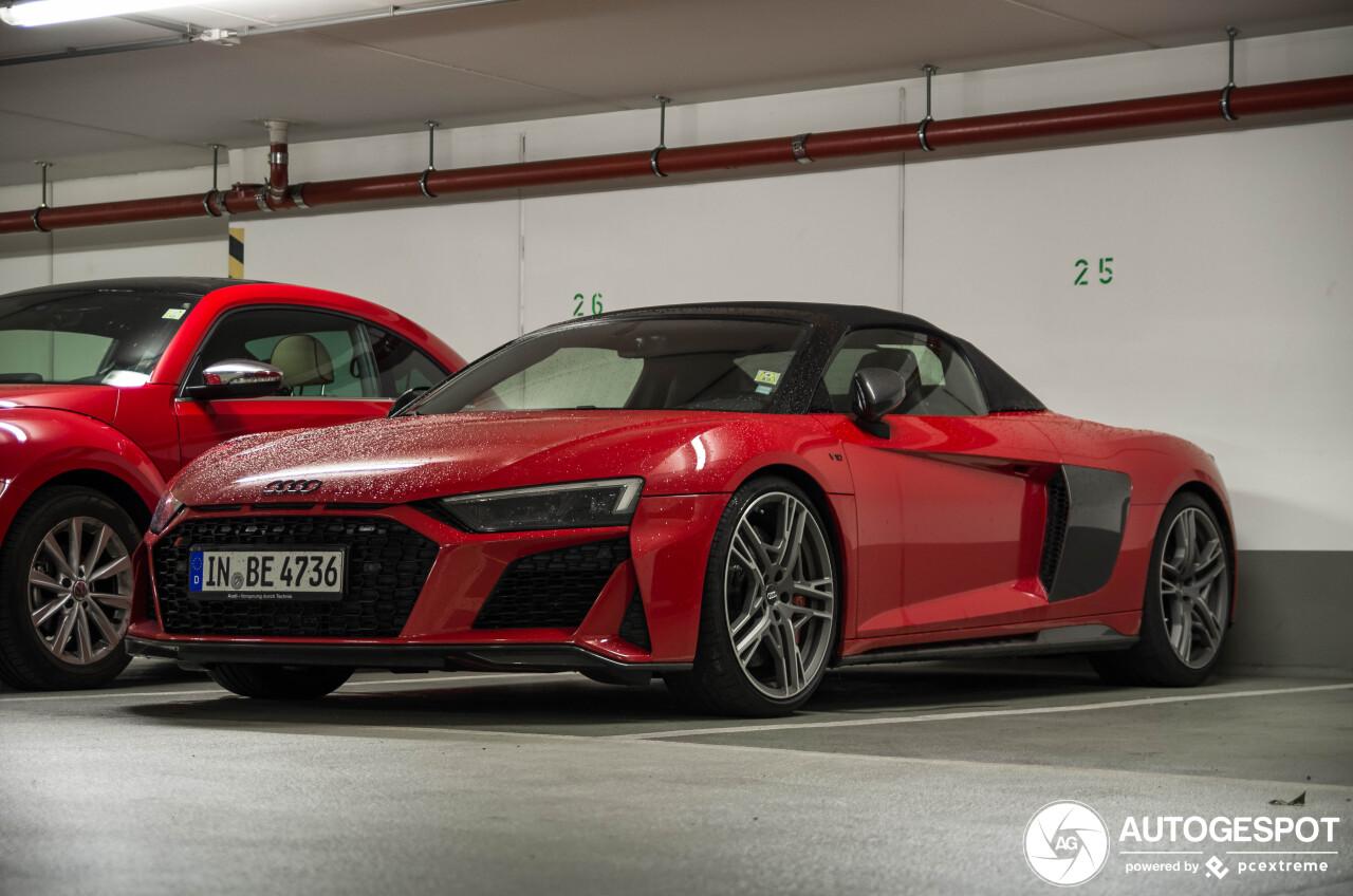 Rood zagen we nog niet op de Audi R8 V10 Spyder 2019